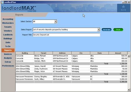 LandlordMax Property Management Software New Feature Screenshot: Security Deposit Report with Totals