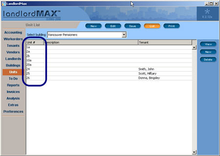 LandlordMax Property Management Software New Feature Screenshot: Unit Sorting