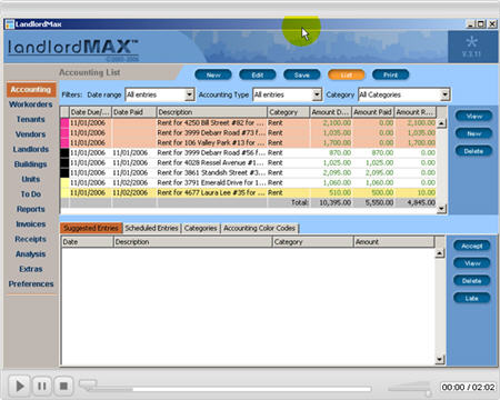 LandlordMax Property Management Software New Feature Screenshot: Filters