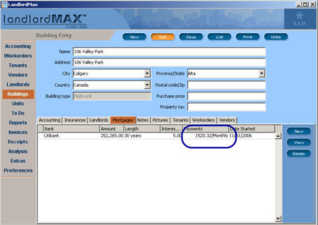 LandlordMax Property Management Software New Feature Screenshot: Mortgage Tabbed Panel Table Columns