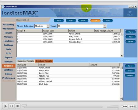 LandlordMax Property Management Software New Feature Screenshot: Receipts