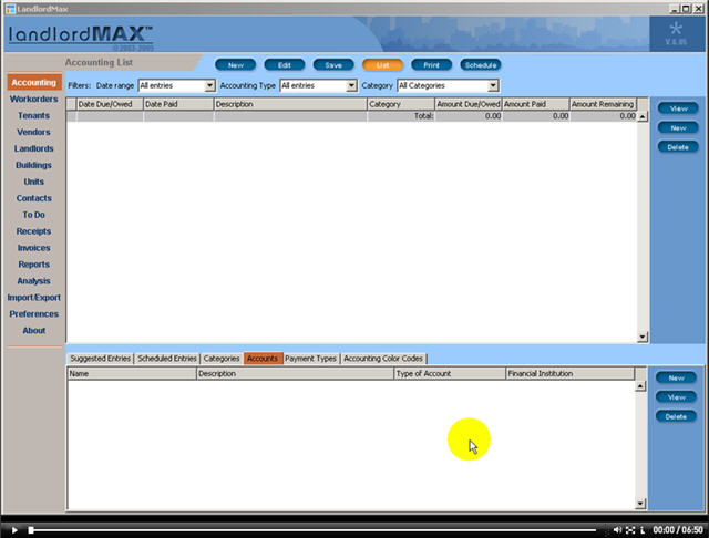 LandlordMax Property Management Software New Feature Screenshot: Accounts