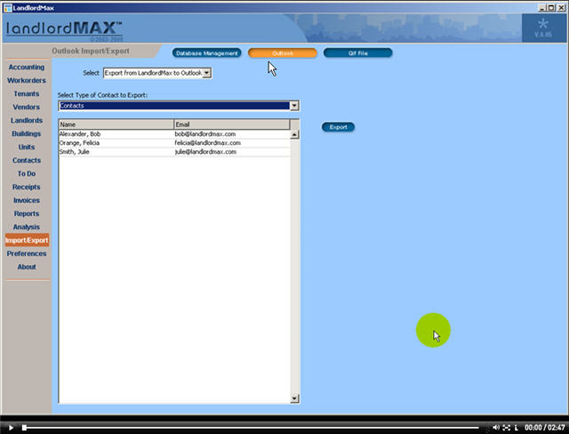 LandlordMax Property Management Software New Feature Screenshot: Outlook
