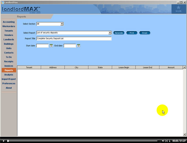 LandlordMax Property Management Software New Feature Screenshot: Security Deposit