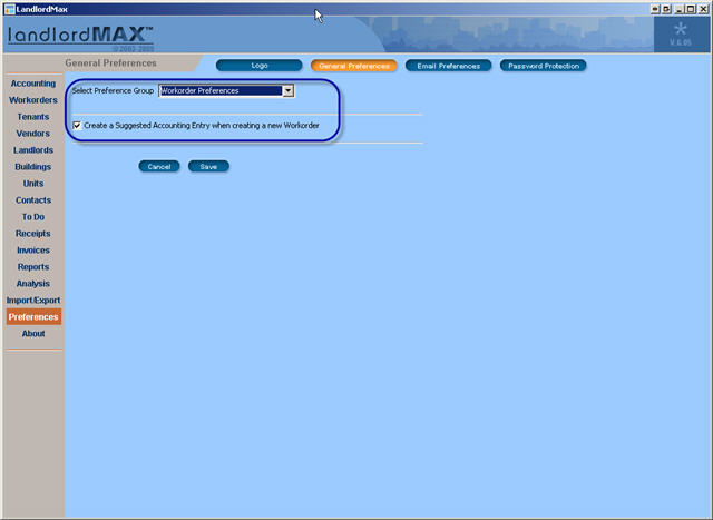 LandlordMax Property Management Software New Feature Screenshot: New Workorder Preference